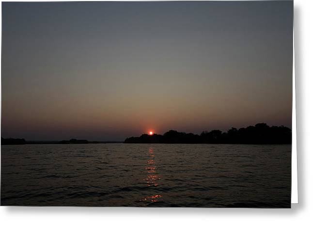 View Of A River At Dusk, Zambezi River Greeting Card