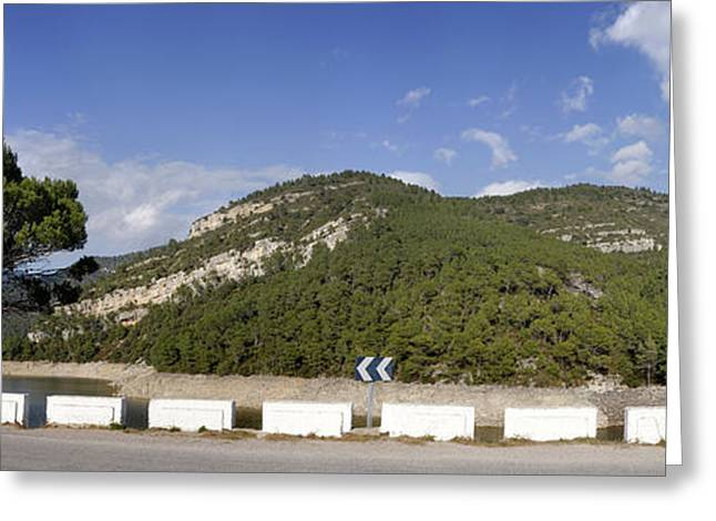 View Of A Road With Mountain Greeting Card by Panoramic Images