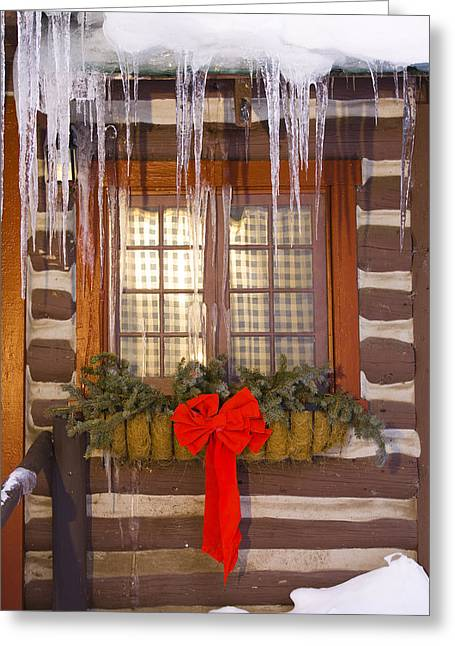 View Of A Rustic Cabin Window Adorned Greeting Card by Michael DeYoung