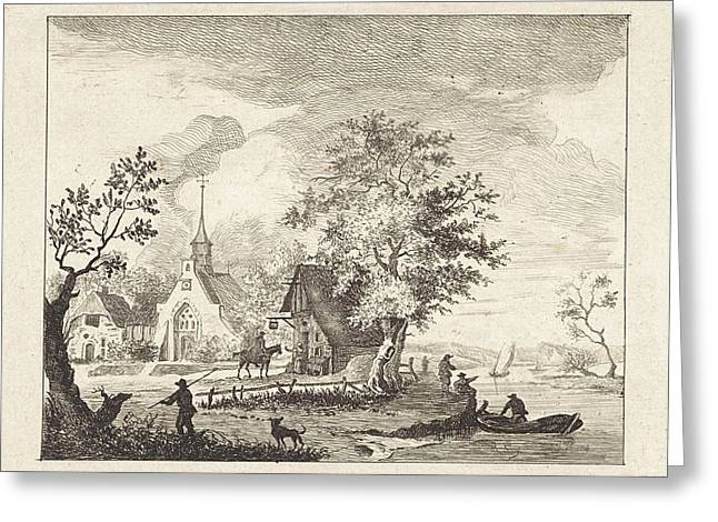 View Of A Town Square, Henricus Van Der Winden Greeting Card by Artokoloro