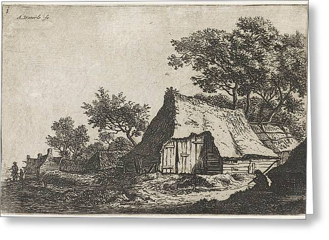 View Of A Village With Walkers, Anthonie Waterloo Greeting Card by Anthonie Waterloo And Basan Et Poignant And Pierre Fran?ois Basan