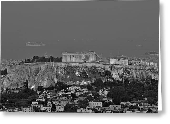 View Of Acropolis From Lycabettus Hill During Dawn Greeting Card by George Atsametakis