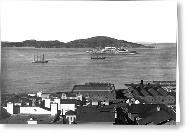 View Of Alcatraz Island Greeting Card by Underwood Archives