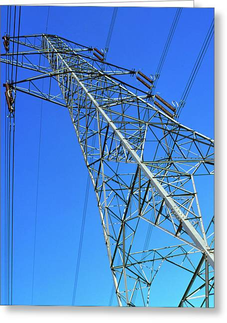 View Of An Electricity Pylon And Cables Greeting Card