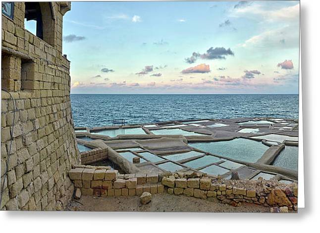 View Of Artillery Battery At Seashore Greeting Card by Panoramic Images