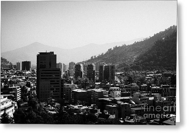 view of barrio lastarria towards san cristobal hill in smog downtown santiago from cerro santa lucia hill Santiago Chile Greeting Card by Joe Fox