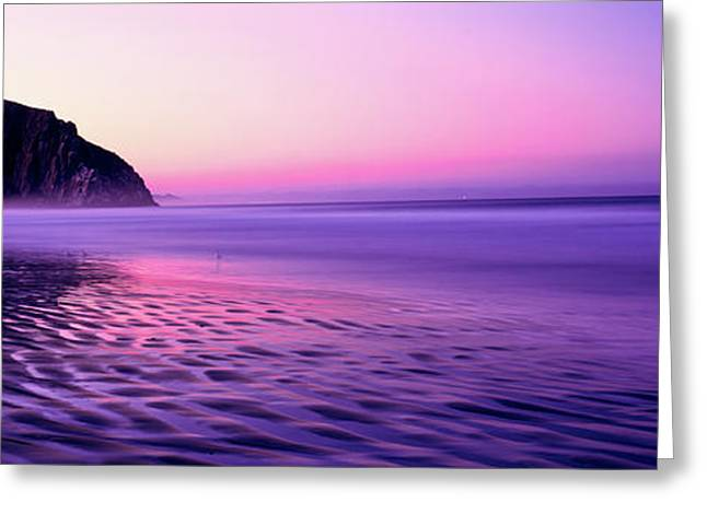 View Of Beach At Sunrise, Morro Rock Greeting Card