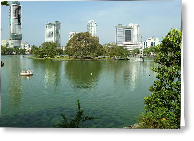 View Of Beira Lake, Central Colombo Greeting Card by Panoramic Images