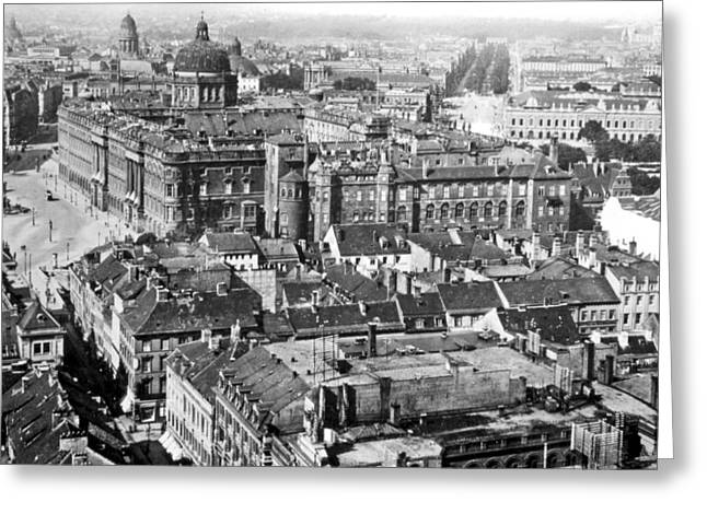 Greeting Card featuring the photograph View Of Berlin Germany 1903 Vintage Photograph by A Gurmankin