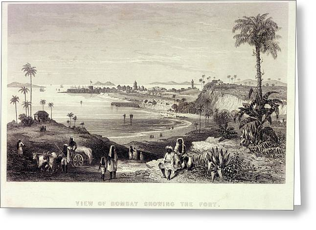 View Of Bombay Showing The Fort Greeting Card