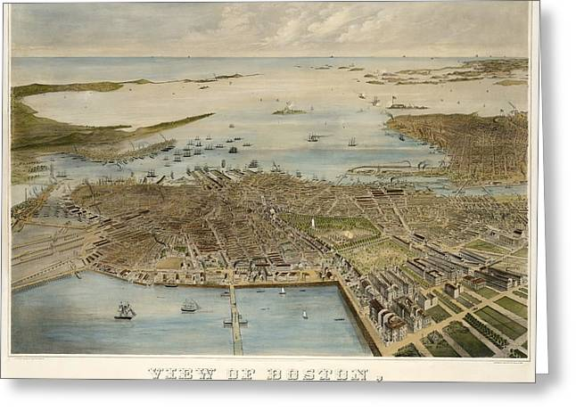View Of Boston July 4th 1870 Greeting Card