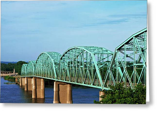 View Of Bridge Over Mississippi River Greeting Card by Panoramic Images
