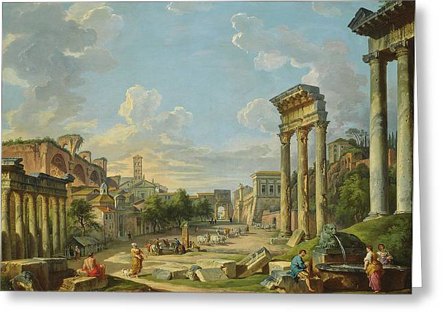 View Of Campo Vaccino In Rome Greeting Card by Giovanni Paolo Panini