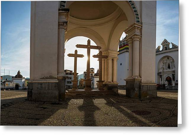 View Of Cathedral In City, Copacabana Greeting Card by Panoramic Images