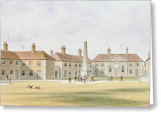 View Of Charles Hoptons Alms Houses, 1852 Wc On Paper Greeting Card