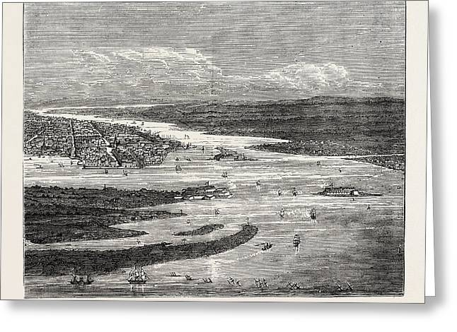 View Of Charleston Harbour, Showing The Forts And Sunken Greeting Card