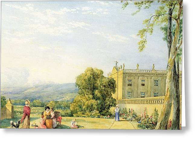 View Of Chatsworth, Derbyshire, C.1820 Greeting Card by Frances Elizabeth Swinburne