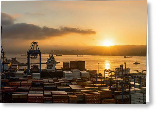 View Of City And Ports At Dawn Greeting Card by Panoramic Images