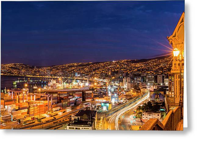 View Of City And Ports At Dusk Greeting Card by Panoramic Images