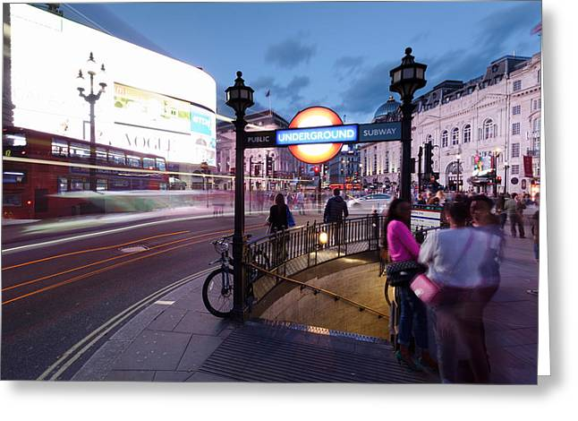 View Of City At Night, Piccadilly Greeting Card