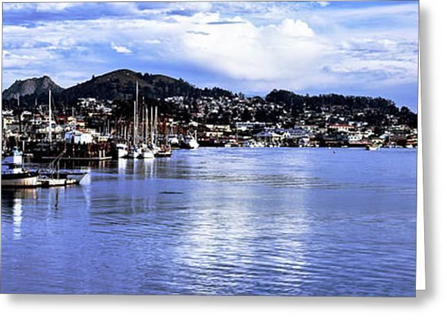 View Of City At Waterfront, Morro Bay Greeting Card
