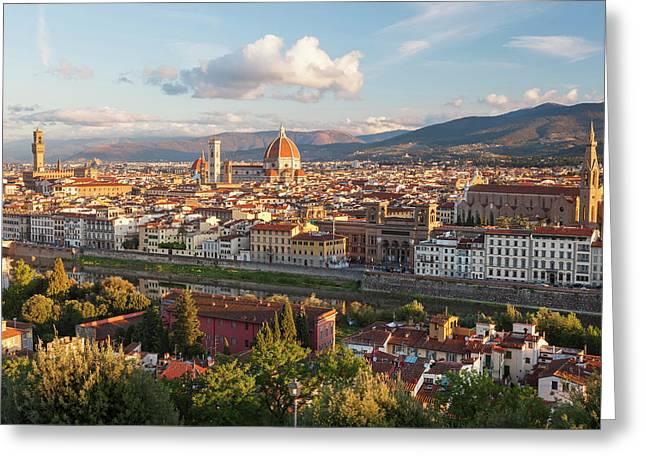 View Of City From Piazza Michelangelo Greeting Card by Peter Adams