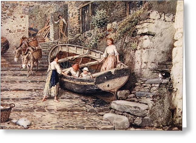 View Of Clovelly, With Stranded Boat Greeting Card by Myles Birket Foster