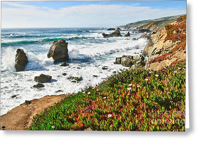 View Of Crashing Waves From Soberanes Point In Garrapata State Park In California. Greeting Card by Jamie Pham