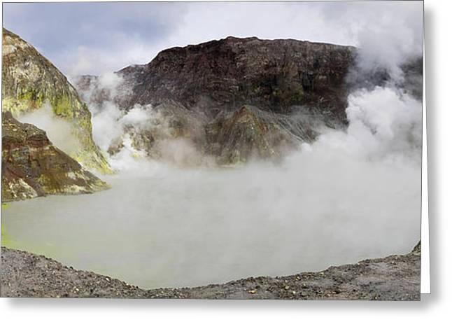 View Of Crater Lake In White Island Greeting Card