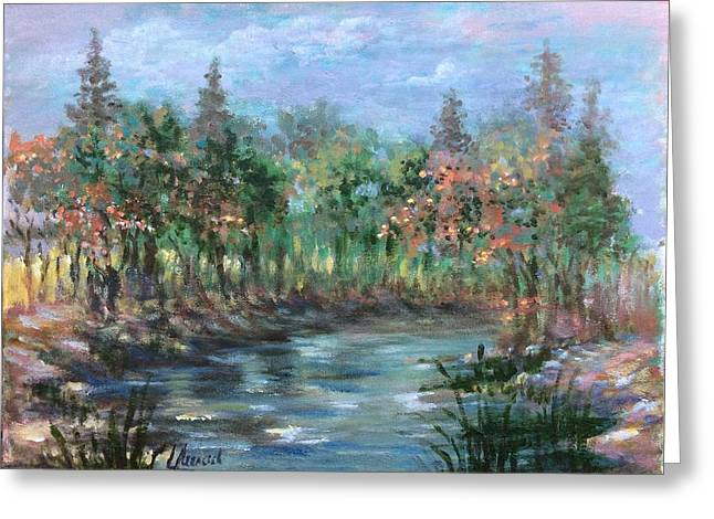 Greeting Card featuring the painting A Creek's View by Laila Awad Jamaleldin