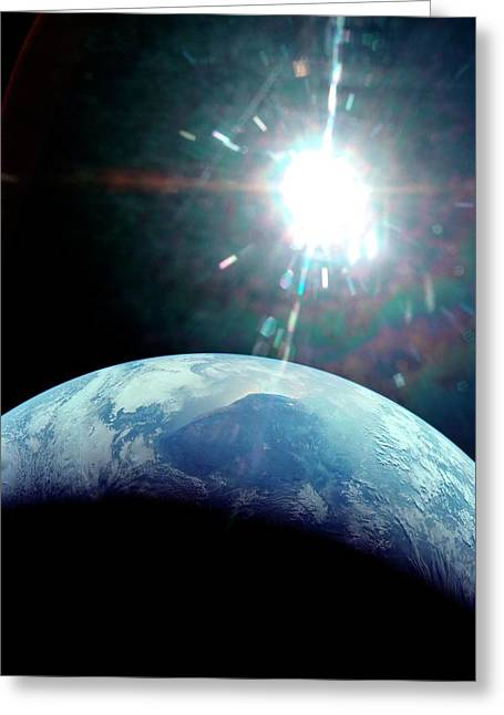 View Of Earth From Apollo 11 Spacecraft Greeting Card by Nasa/detlev Van Ravenswaay