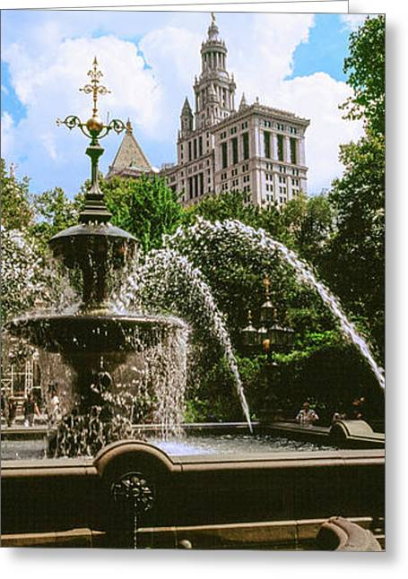 View Of Fountain, City Hall Park Greeting Card