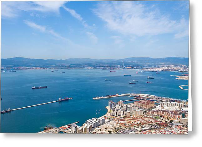 view of Gibralter straight from the top of the rock Greeting Card by Fizzy Image