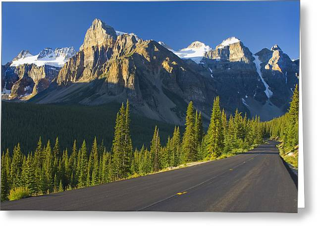View Of Glacial Mountains And Trees Greeting Card by Laura Ciapponi