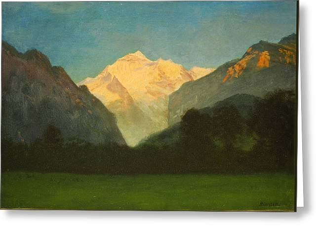 View Of Glacier Park Or Sunset On Peak Greeting Card