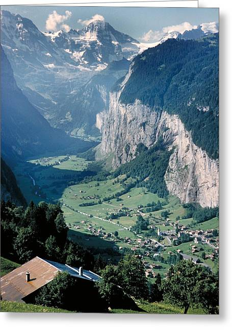 Amazing View Of Swiss Valley Greeting Card by Carl Purcell