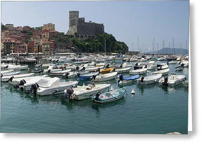 View Of Harbor And Castle Of Lerici Greeting Card