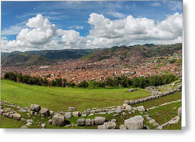 View Of Inca Archaeological Site Greeting Card