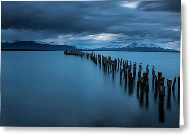 View Of Lake At Dusk With Snowcapped Greeting Card by Panoramic Images