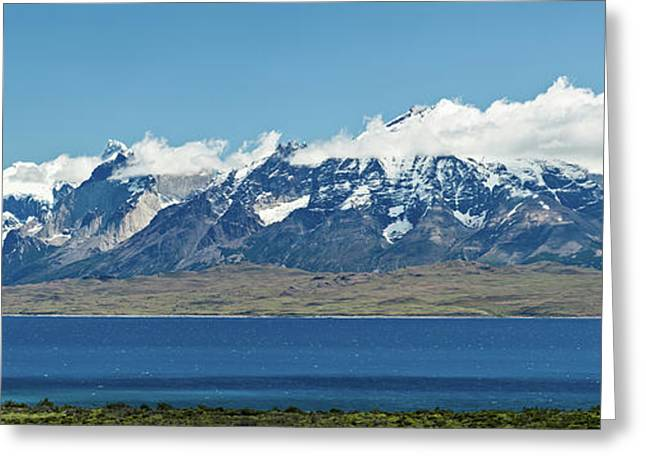 View Of Lake With Snowcapped Mountains Greeting Card