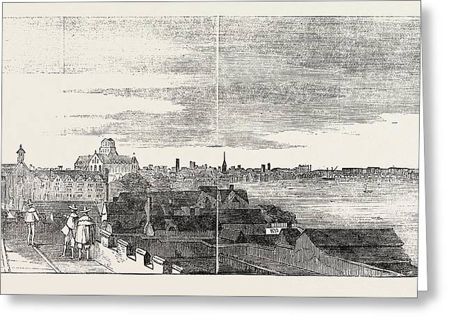 View Of London From The Roof Of Arundel House Uk 1646 Greeting Card by English School