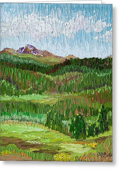 View Of Longs Peak From Hollowell Park In Rocky Mtn Natl Park Greeting Card by Margaret Bobb