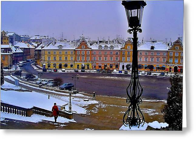 View Of Lublin Castle Steps  Greeting Card
