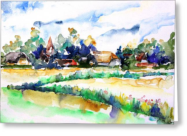 View Of Ludorf Over The Meadows  Greeting Card by Barbara Pommerenke