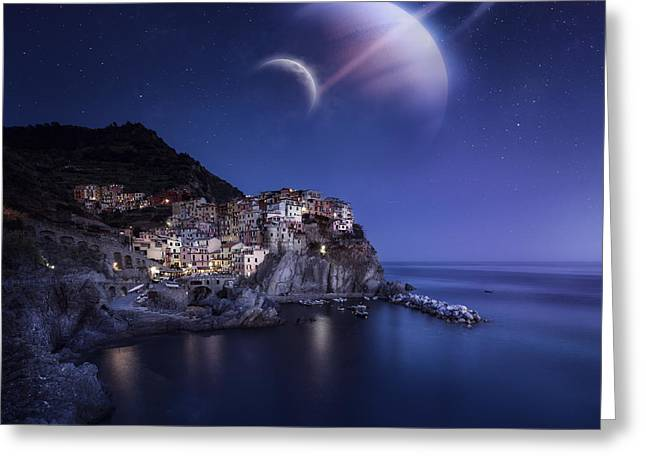 View Of Manarola On A Starry Night Greeting Card by Evgeny Kuklev