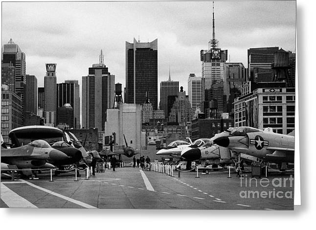 View Of Manhattan From The Flight Deck Of The Uss Intrepid  New York City Greeting Card by Joe Fox