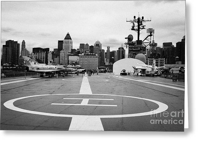 view of manhattan from the rear helicopter pad on the flight deck USS Intrepid  Greeting Card by Joe Fox