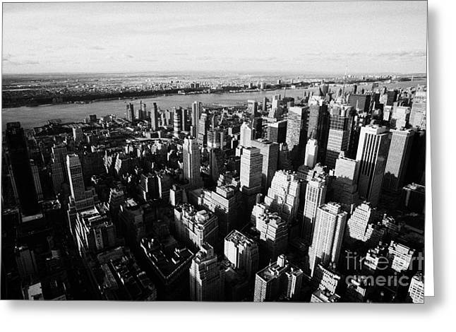 View Of Manhattan North West Towards Hudson River From Empire State Building Greeting Card by Joe Fox