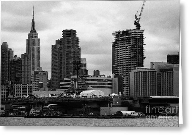 view of manhattan skyline USS Intrepid Aircraft Carrier new york city nyc Greeting Card