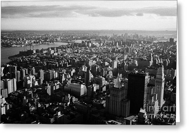 view of manhattan south east towards east river and Brooklyn new york city cityscape usa Greeting Card